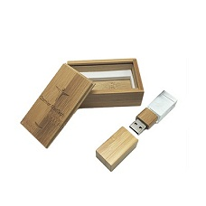 16GB Crystal USB with Wooden Box - MOQ200-205